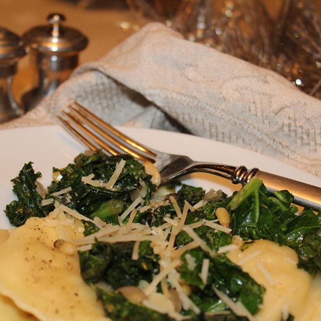 ravioli and greens