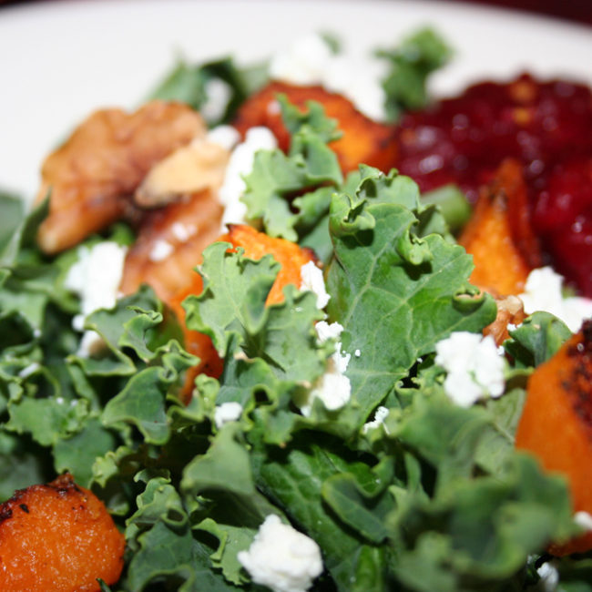 winter kale salad with butternut squash